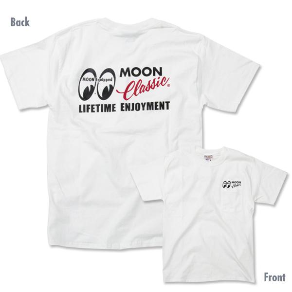 Mサイズ MOONEYES MOON Classic Logo ポケット Tシャツ ムーンアイズ ホワイト ポケット付き クラシック 車 バイク がお好きな方にぜひ_画像3