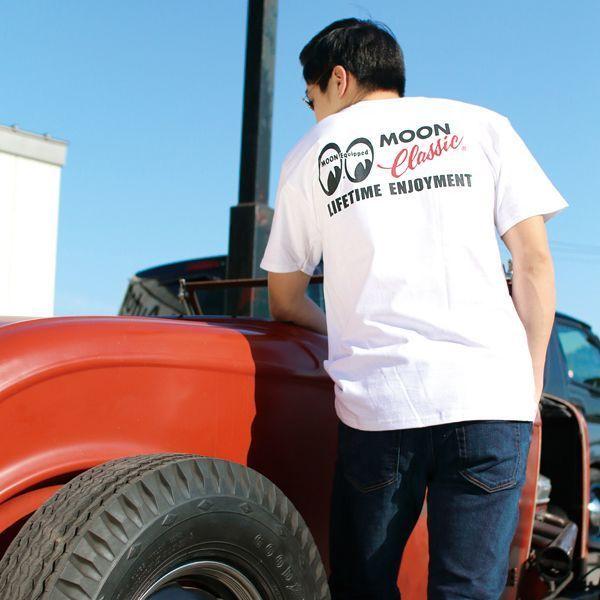Mサイズ MOONEYES MOON Classic Logo ポケット Tシャツ ムーンアイズ ホワイト ポケット付き クラシック 車 バイク がお好きな方にぜひ_画像1
