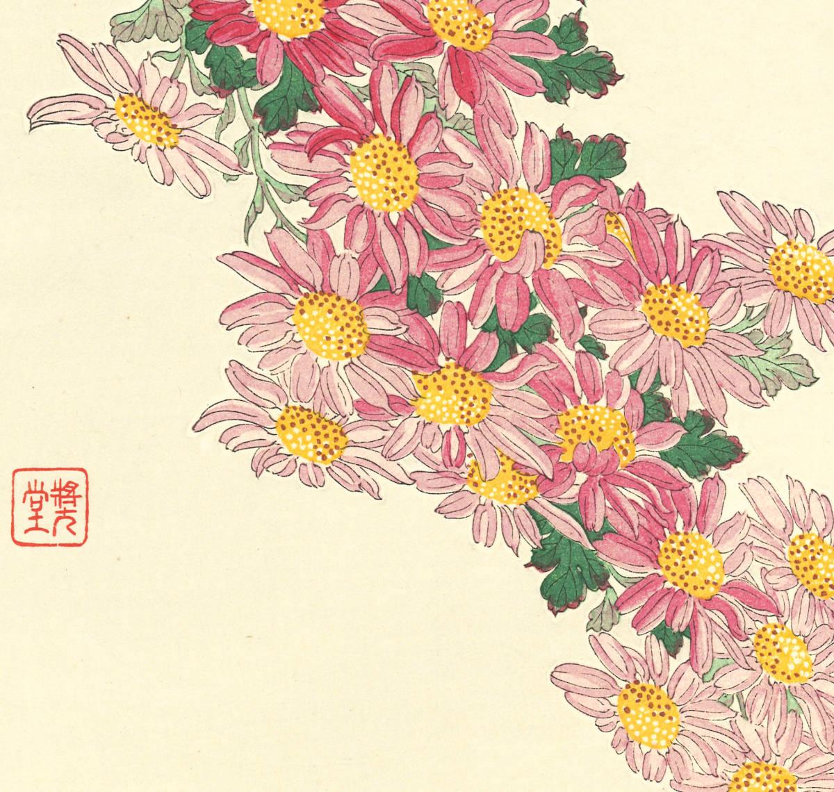 河原崎奨堂 (Kawarazaki Shodo) (1899~1973)木版画 F036 菊 花版画(Chrysanthemum)初版昭和初期~京都の一流の摺師の技をご堪能下さい_画像10