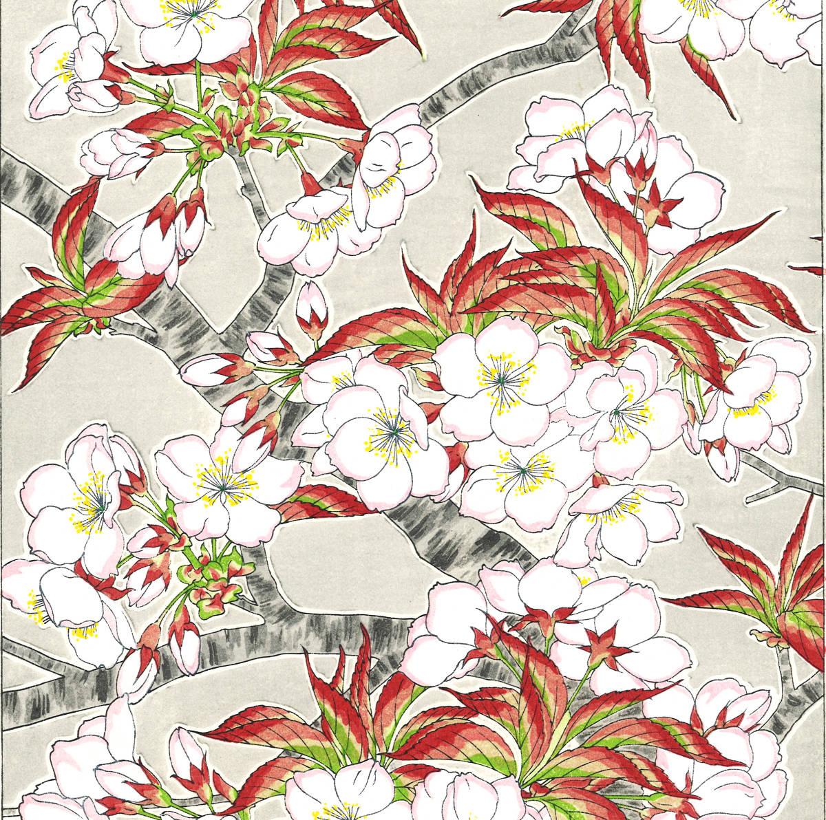 河原崎奨堂 (Kawarazaki Shodo) (1899~1973) 木版画 F020 桜 花版画 (cherry) 初版昭和初期~ 京都の一流の摺師の技をご堪能下さい。_画像7