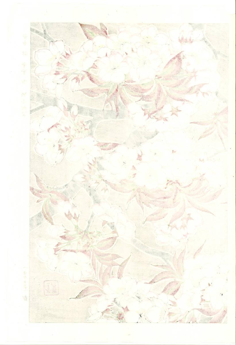 河原崎奨堂 (Kawarazaki Shodo) (1899~1973) 木版画 F020 桜 花版画 (cherry) 初版昭和初期~ 京都の一流の摺師の技をご堪能下さい。_画像2