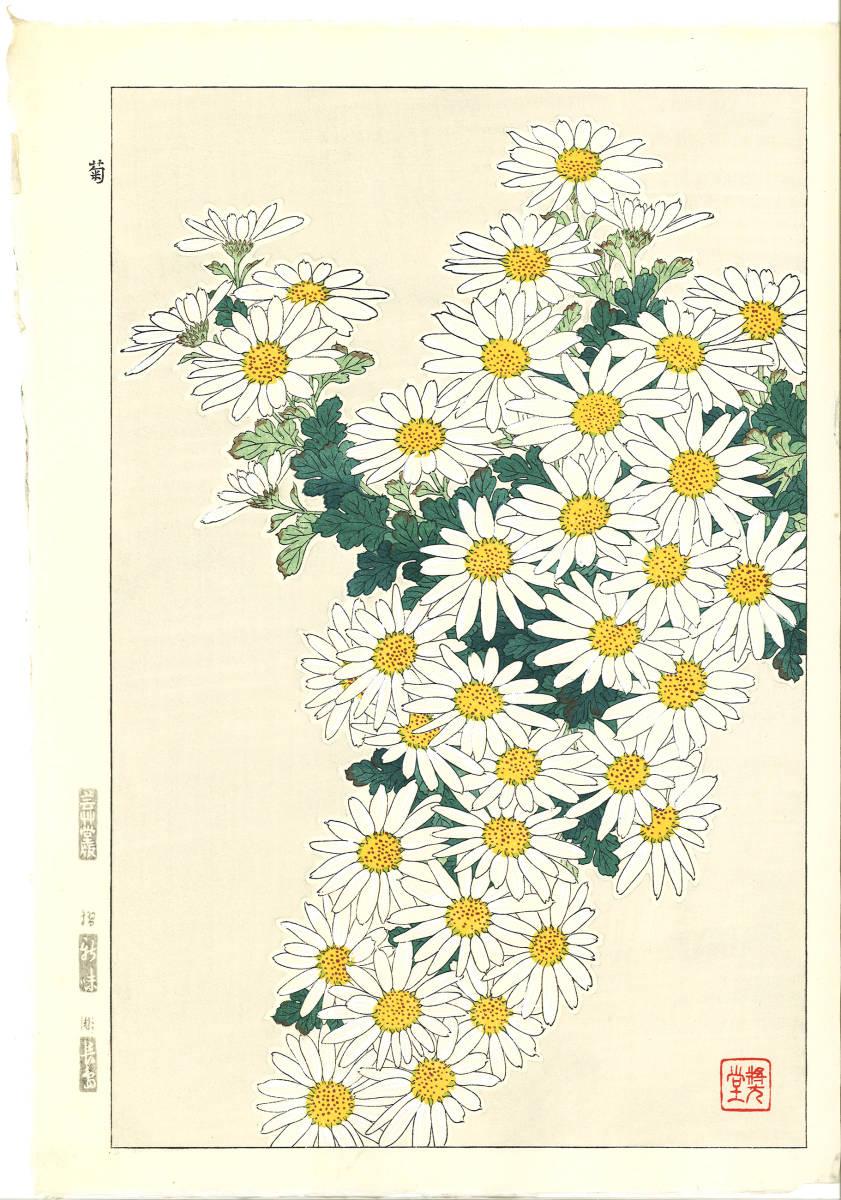 河原崎奨堂 (Kawarazaki Shodo) (1899~1973)木版画 F037 菊 花版画(Chrysanthemum)初版昭和初期~京都の一流の摺師の技をご堪能下さい。_画像1