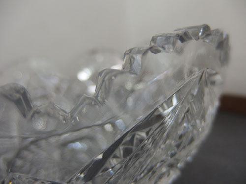 1290538w【クリスタルガラス カットガラス ボウル】切子/大鉢/サラダボウル/21×21×H9cm/中古品_画像6