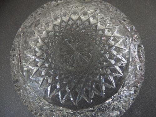 1290538w【クリスタルガラス カットガラス ボウル】切子/大鉢/サラダボウル/21×21×H9cm/中古品_画像4