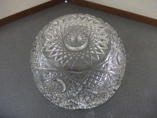 1290538w【クリスタルガラス カットガラス ボウル】切子/大鉢/サラダボウル/21×21×H9cm/中古品_画像3