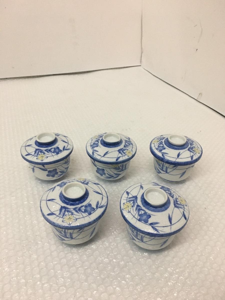 未使用保管品 茶碗蒸し碗 5個 / 蓋あり / 花 口径:約8cm高さ:約7.5cm_画像1