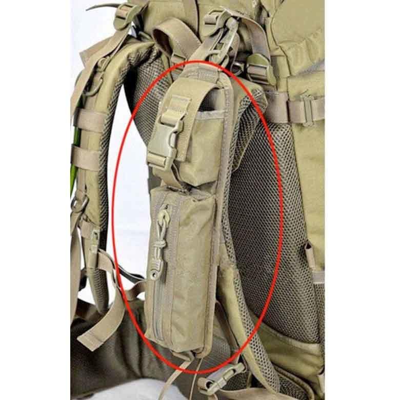 ミリタリー バッグパック タクティカル・アクセサリー ショルダーパッドポーチ モールシステム対応 カラー:タン レア商品_取付イメージ