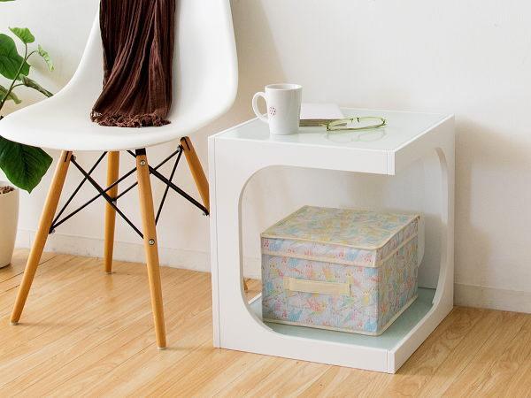 サイドテーブル (白) ソファサイド ナイトテーブル ガラス天板 モダン シンプル おしゃれ_画像1