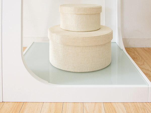 サイドテーブル (白) ソファサイド ナイトテーブル ガラス天板 モダン シンプル おしゃれ_画像3