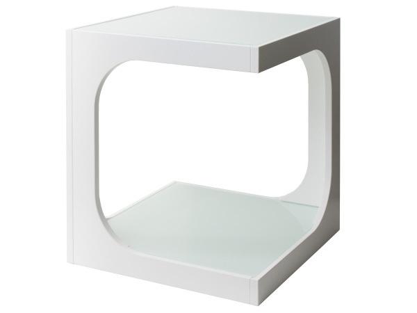 サイドテーブル (白) ソファサイド ナイトテーブル ガラス天板 モダン シンプル おしゃれ_画像5