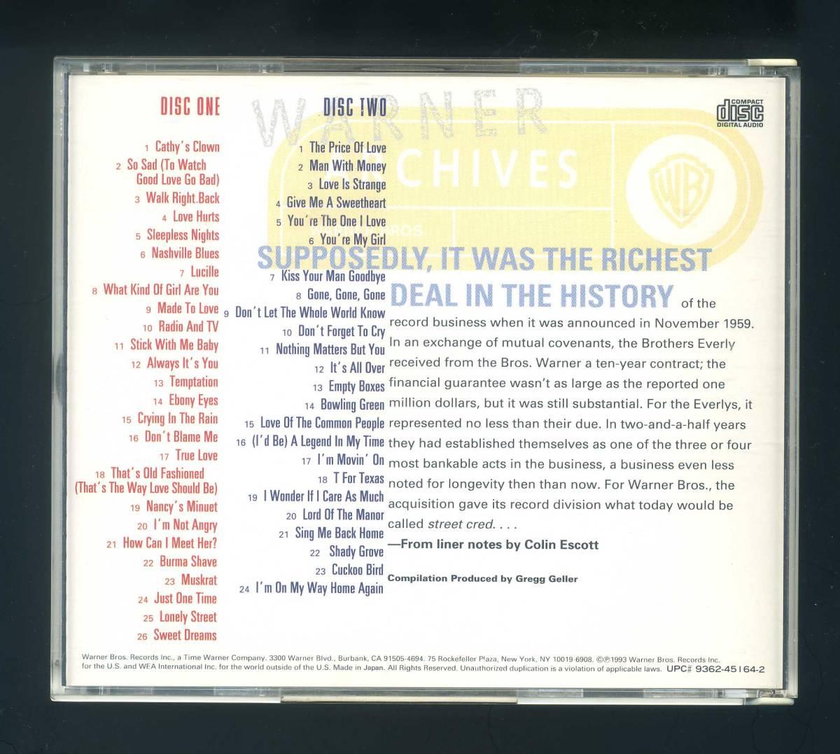 ★即決!2枚組 エヴァリー・ブラザーズ ビートルズ、サイモン&ガーファンクル、大滝詠一、山下達郎等も敬愛するデュオEVERLY BROTHERS_★全盛期60年代ワーナー時代のベスト盤