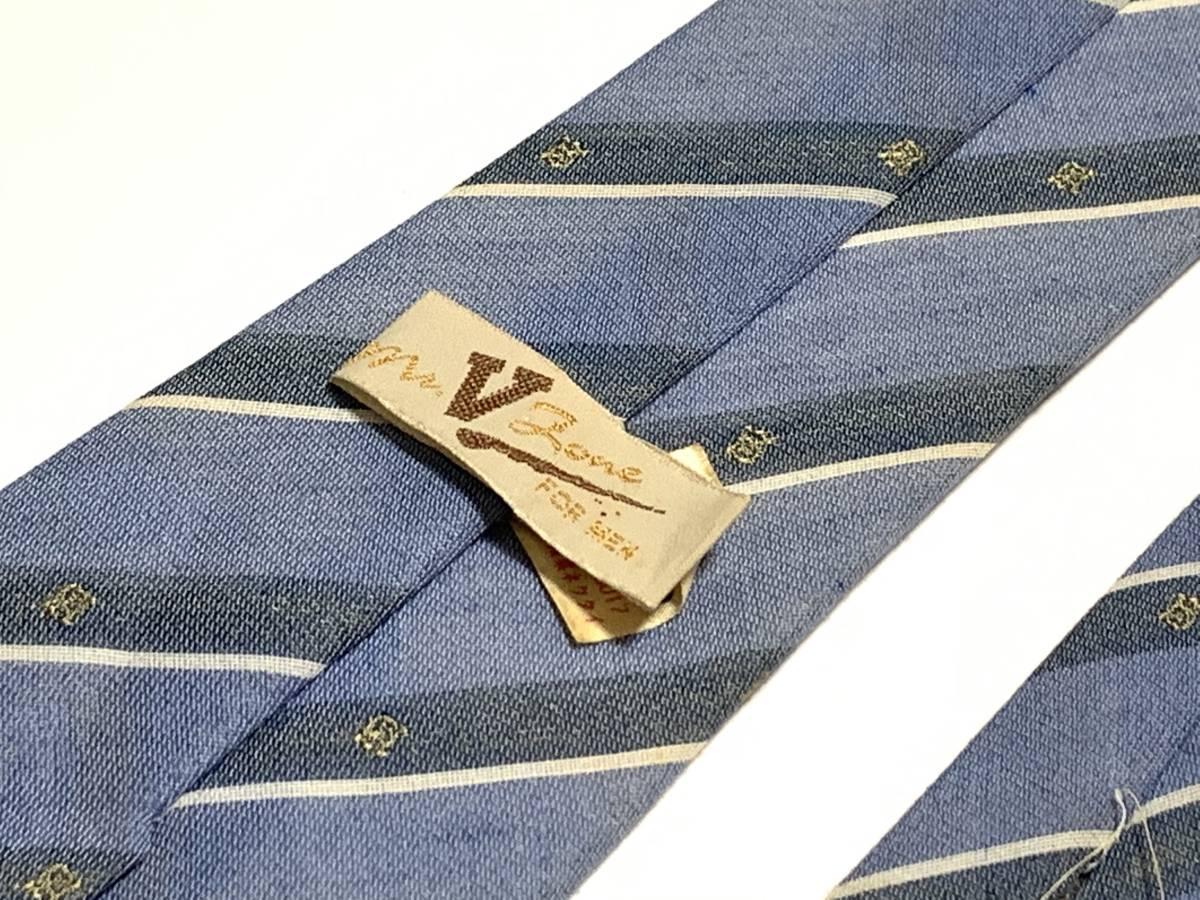 【現品限り】mr V Love FOR MEN 中古 ブランド USED ネクタイ 水色 レジメン フォーマル【汚れあり】2836_画像5