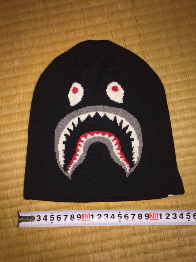 良品 A BATHING APE Shark Beanie cap ベイシング エイプ シャーク ニットキャップ WGM ワッチ ビーニー 帽子 BLACK ブラック 黒色 正規品