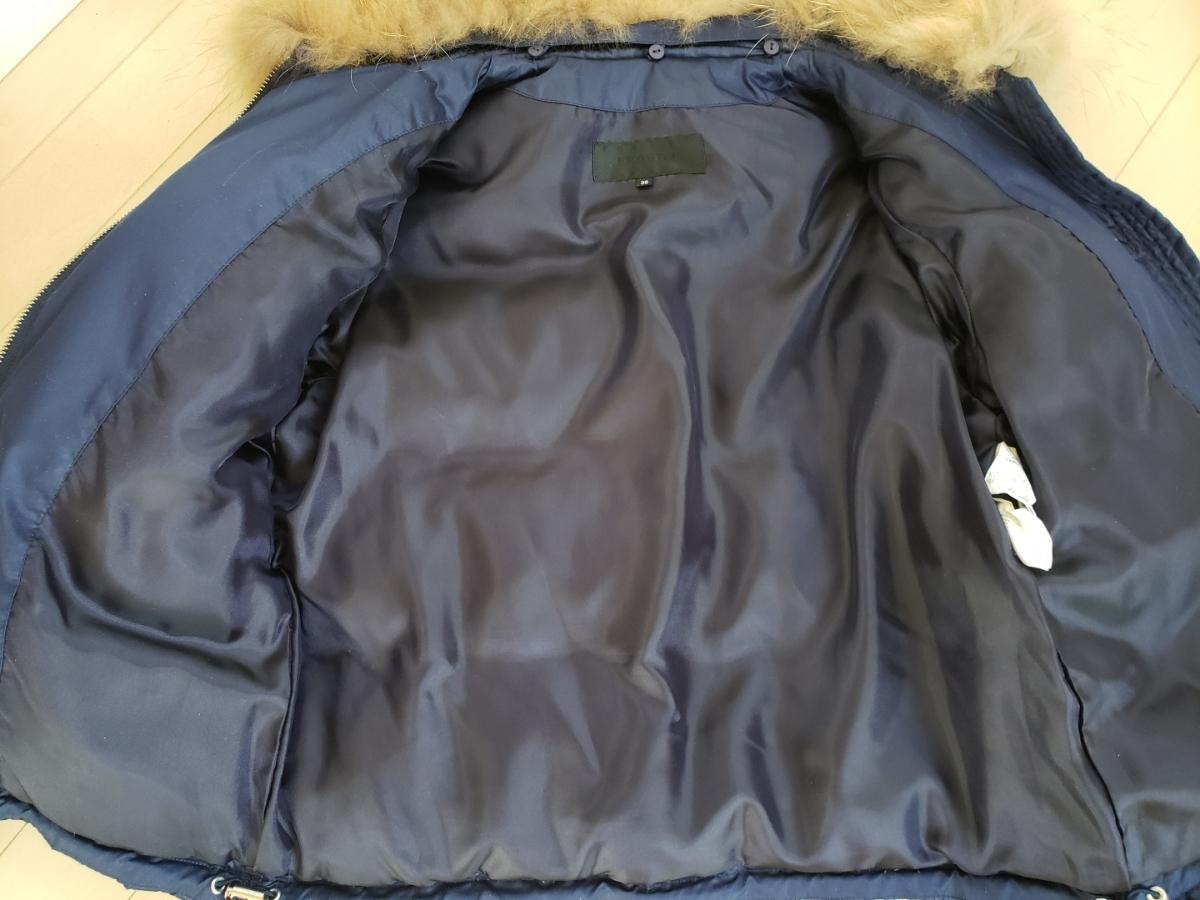 フラジール ダウンジャケット ネイビー リアルファー付き サイズ38 M 女性用 送料無料 ファー付きダウンジャケット