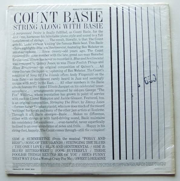 ◆ COUNT BASIE / String Along With Basie ◆ Roulette SR-52051 ◆ W_画像2