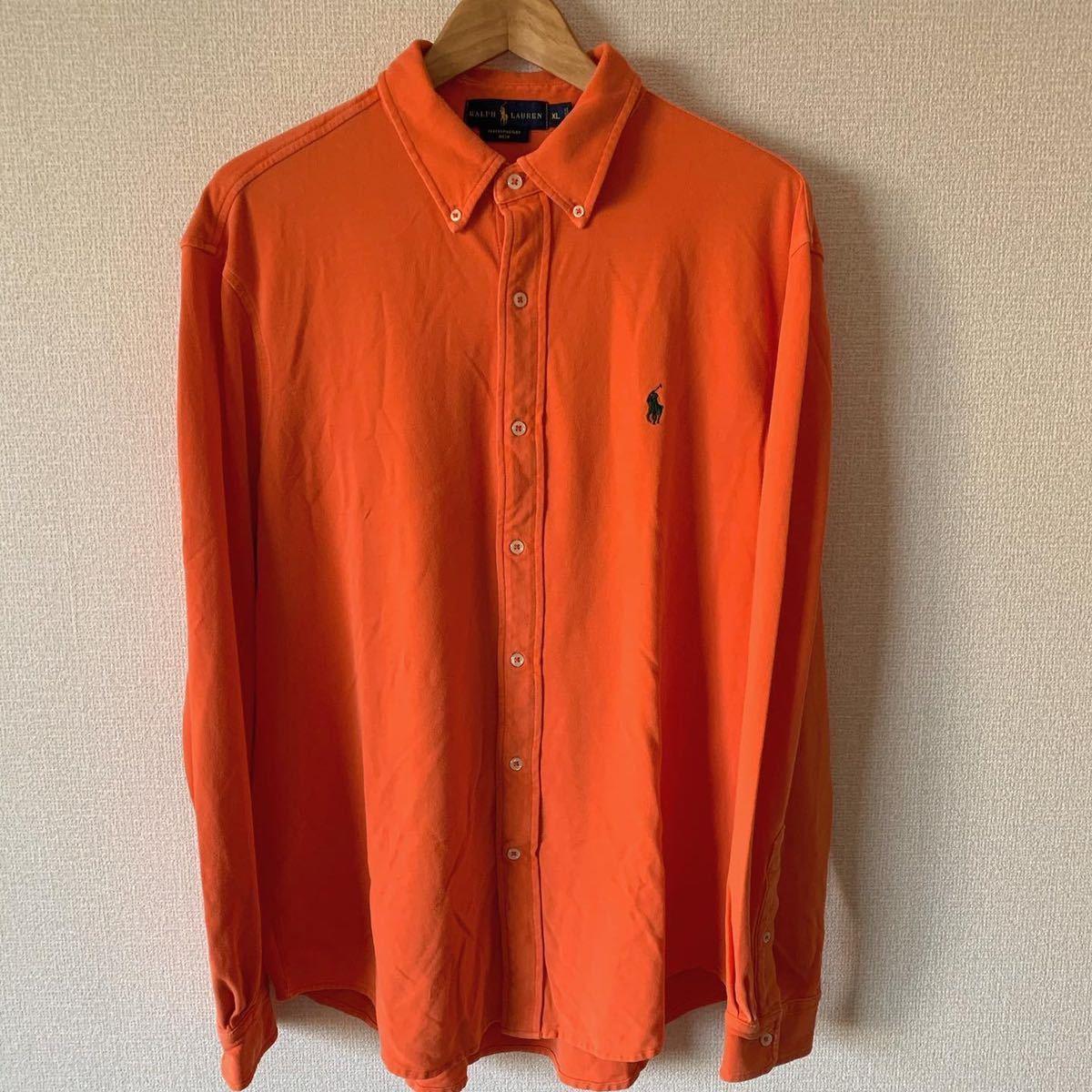 ラルフローレン フェザーウェイトメッシュ ボタンダウンシャツ XL オレンジ 鹿の子 鹿の子シャツ ポロラルフローレン