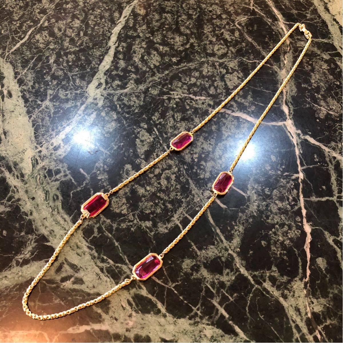 【未使用品】デザインネックレス★ビジュー きらきら ゴールドカラー×ピンク ロングネックレス_画像1