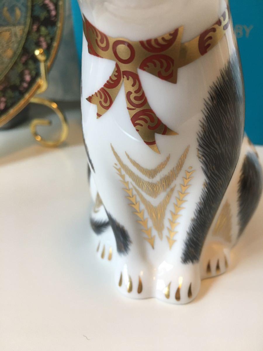 〈送料込〉ロイヤル クラウン ダービー ペーパーウェイト 親猫 Royal Crown Derby Black&White MotherCat フィギュリン フィギュア 黒白猫_画像4