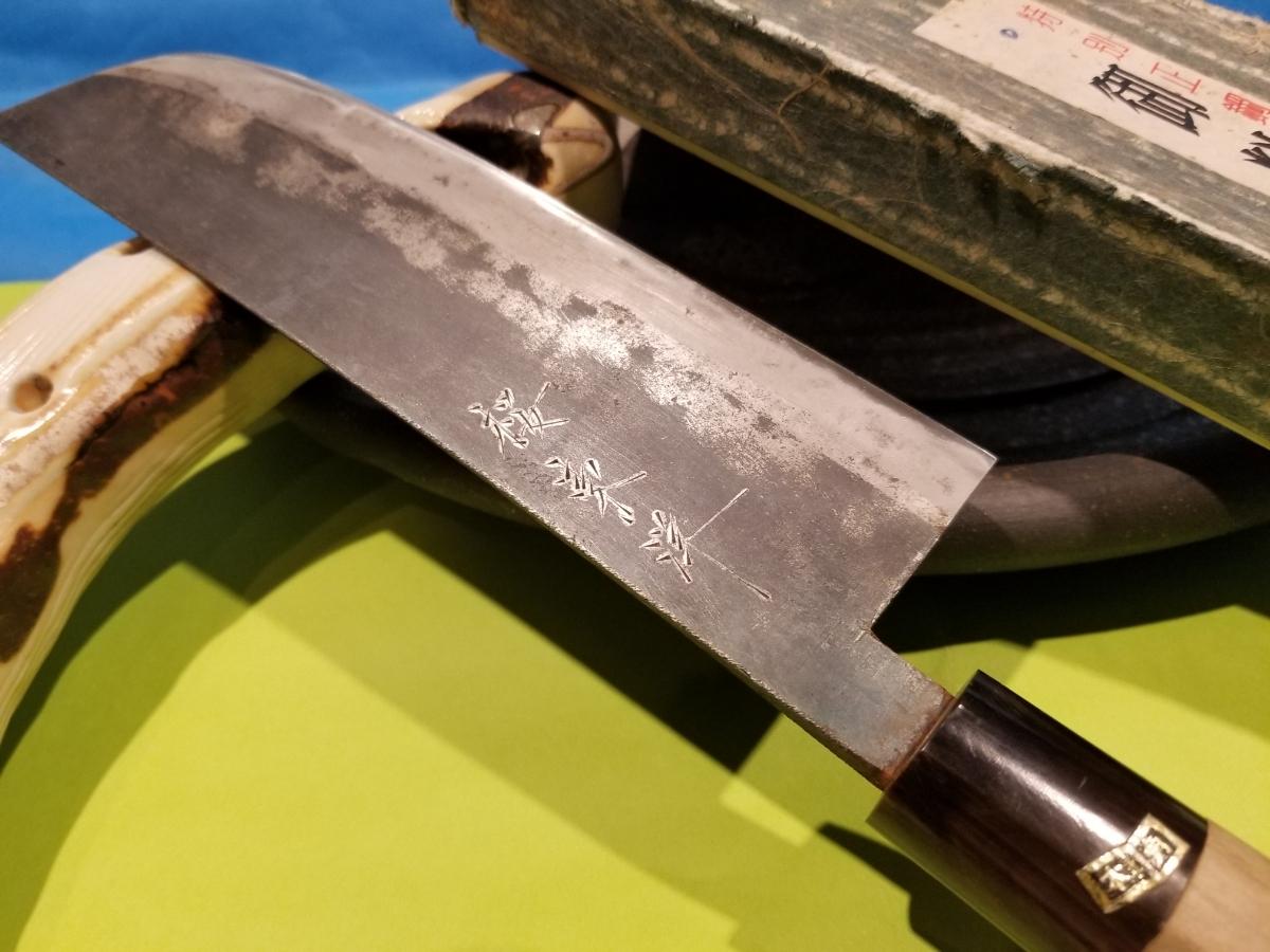 桜東洋 菜切り 包丁 割込 本牛角 箱つき 研ぎ済み_画像2