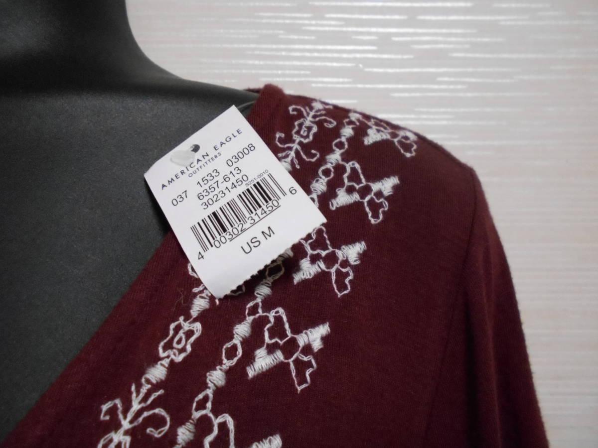 アメリカンイーグル カシュクール 刺繍デザイン トップス 新品 ワインレッド M ☆彡 フリル袖 カットソー