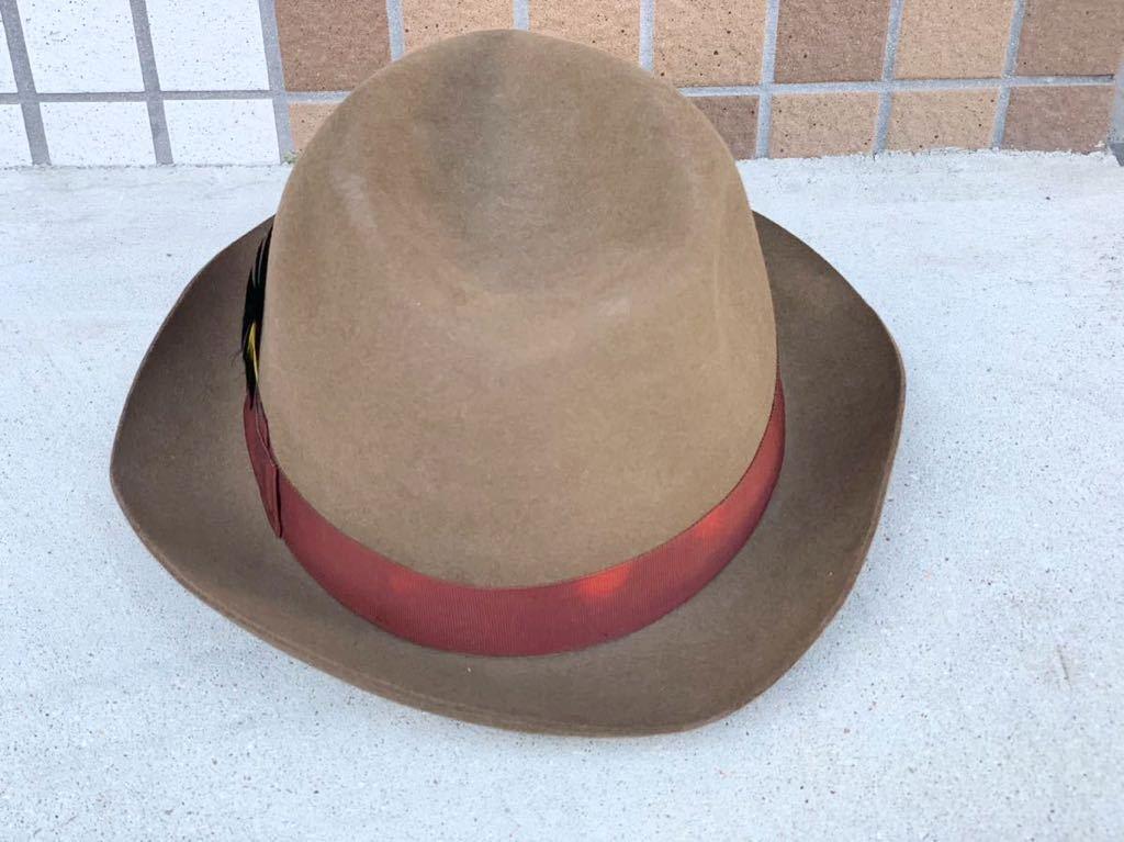 【稀少サイズ 60cm 】イタリア製 Borsalino 【最高級】中折れ帽 リボン飾りハット 茶 羽飾り