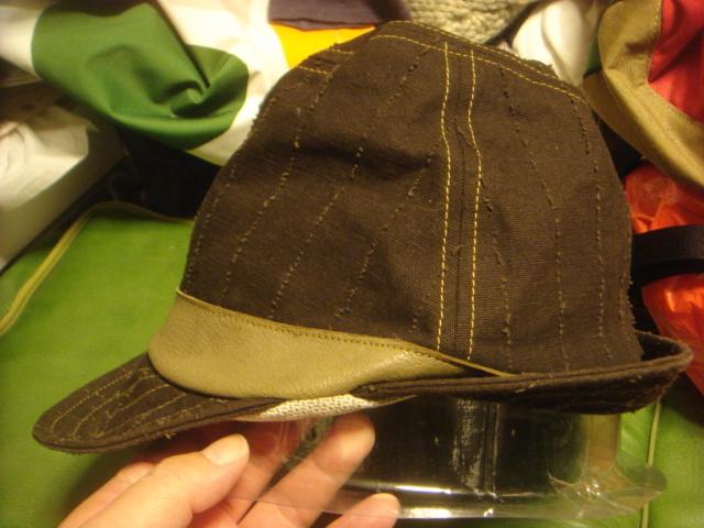 1605カシラCA4LA帆布キャンバス皮革レザー切替 折り返しWORKワークキャップCAP/HATハット帽子L_画像4
