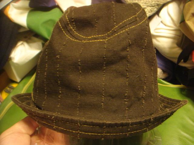 1605カシラCA4LA帆布キャンバス皮革レザー切替 折り返しWORKワークキャップCAP/HATハット帽子L_画像6