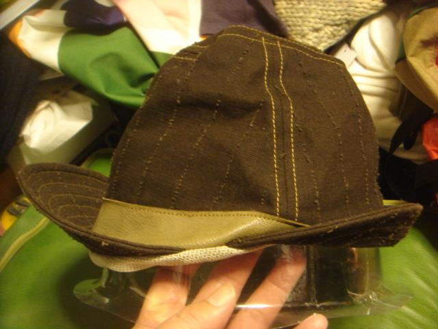 1605カシラCA4LA帆布キャンバス皮革レザー切替 折り返しWORKワークキャップCAP/HATハット帽子L_画像3
