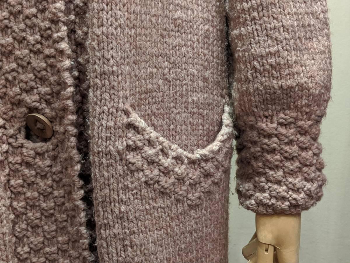フランスヴィンテージ70's手編みコート/ニットコートウール60'sレトロヨーロッパフレンチ古着ΓLT_画像5