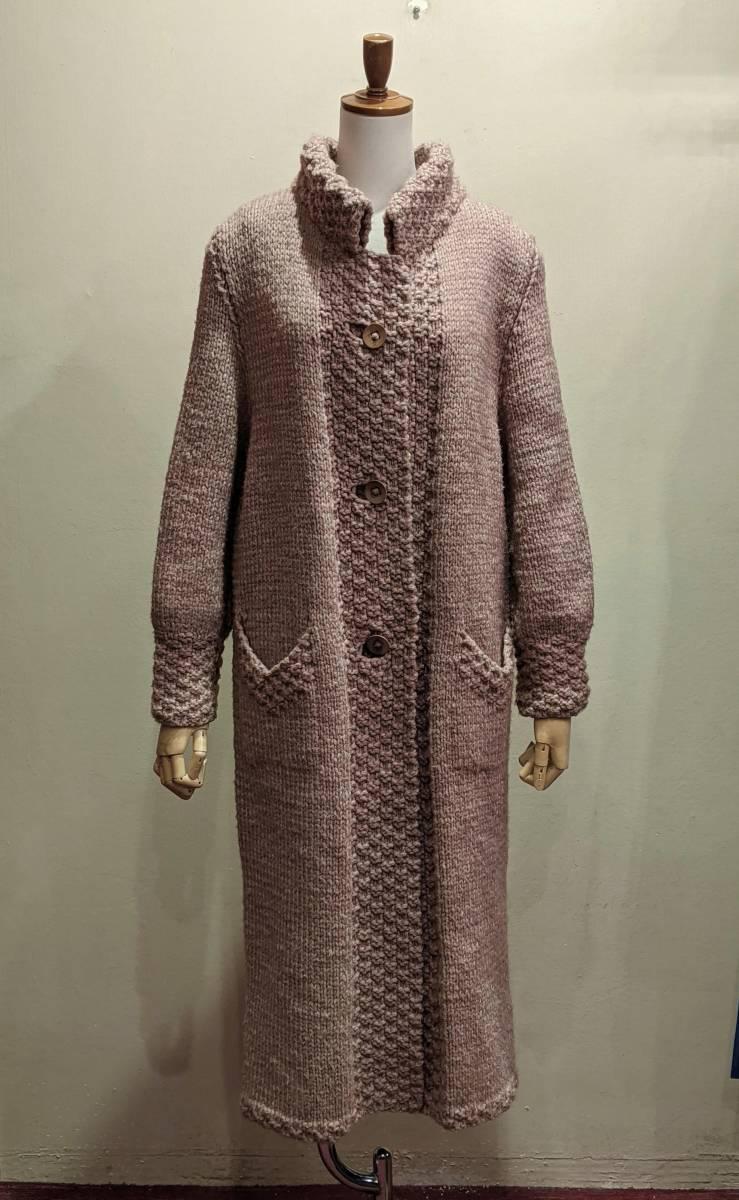 フランスヴィンテージ70's手編みコート/ニットコートウール60'sレトロヨーロッパフレンチ古着ΓLT_画像2