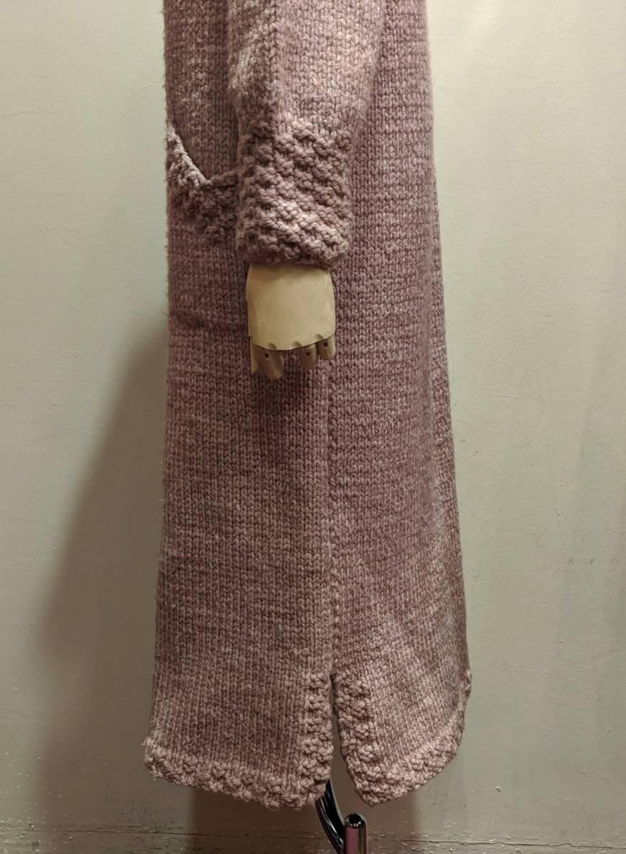 フランスヴィンテージ70's手編みコート/ニットコートウール60'sレトロヨーロッパフレンチ古着ΓLT_画像4