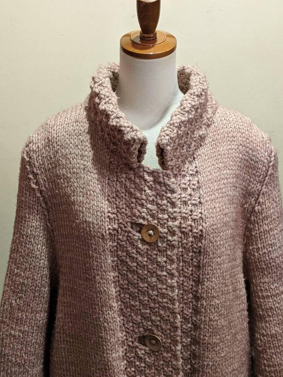フランスヴィンテージ70's手編みコート/ニットコートウール60'sレトロヨーロッパフレンチ古着ΓLT_画像1