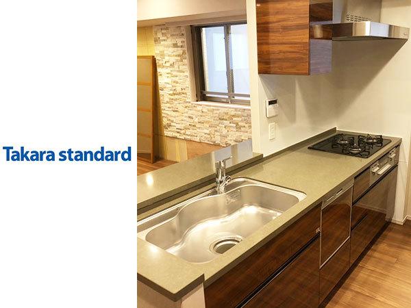 N3250【展示未使用品】タカラスタンダード 高級システムキッチン/人造大理石天板/ビルト