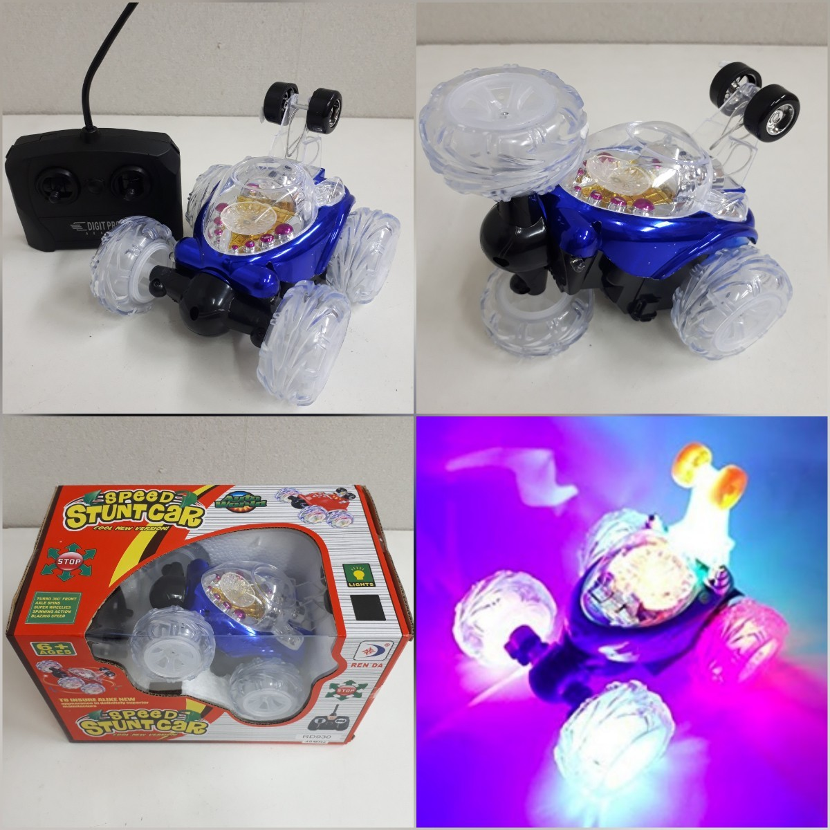 ◆新品◆LEDライト付 回転ラジコンカー ブルー