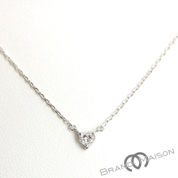 【ジュエリー】ダイヤモンドネックレス/Pt850/ハートシェイプ/40cm/アクセサリー/レディース_画像1