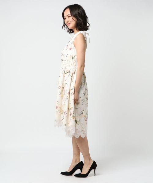 新品【Rose Tiaraローズティアラ】オパールレースフラワープリント ワンピース 42 15号 大きいサイズ_画像4