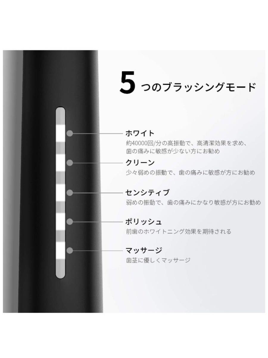 電動歯ブラシ 4時間USB充電30日間の使用 IPX7防水仕様 5つモード クリスマスプレゼント SG958(ブラック