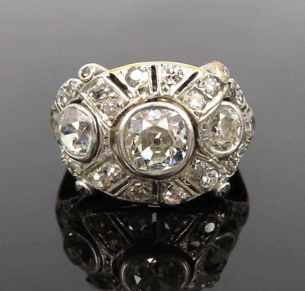 ◆アンティーク◆2.80ct オールドマインカット ダイヤモンド◆【プラチナ イエローゴールド】《リング 指輪》_画像1
