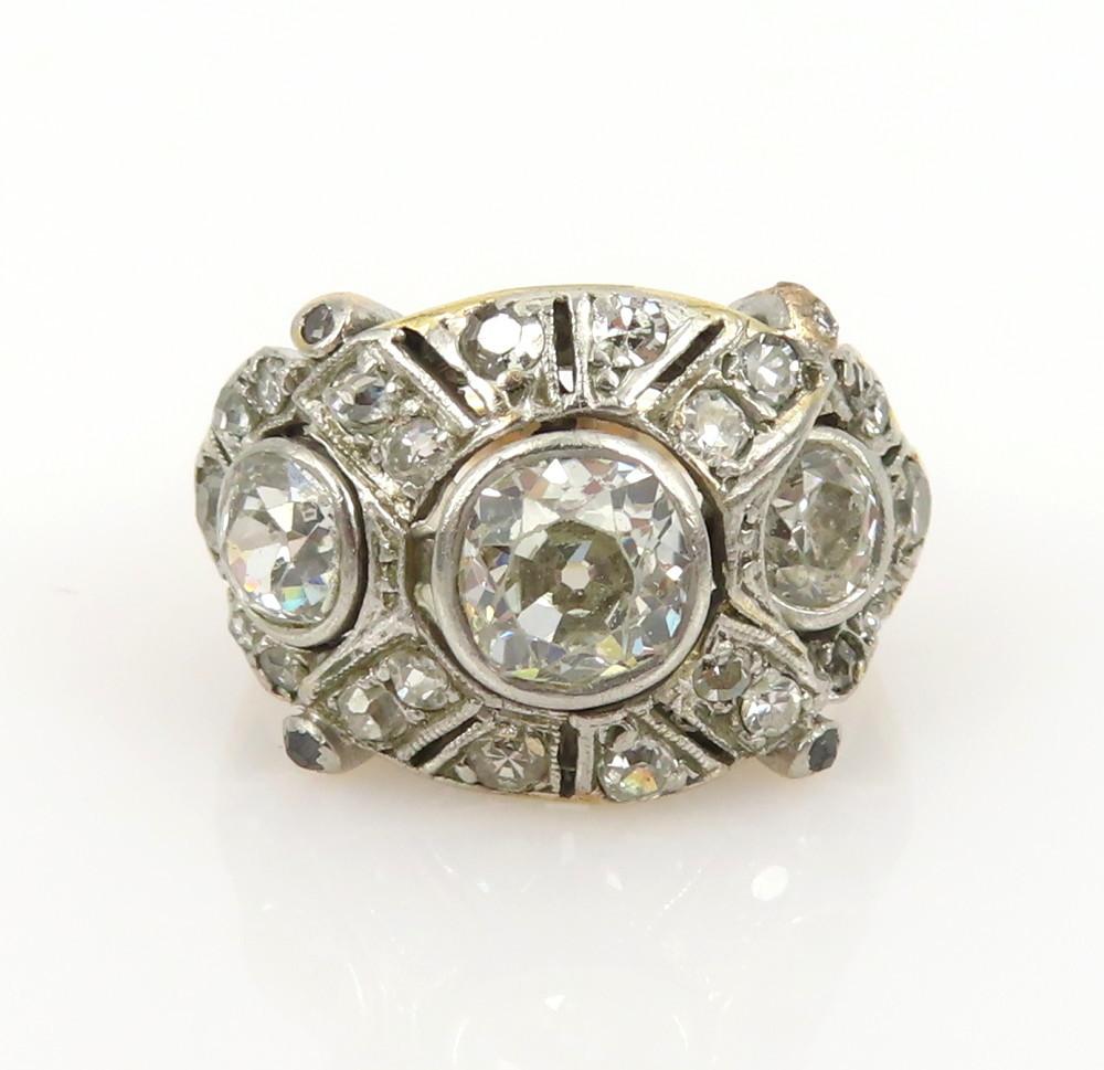 ◆アンティーク◆2.80ct オールドマインカット ダイヤモンド◆【プラチナ イエローゴールド】《リング 指輪》_画像4