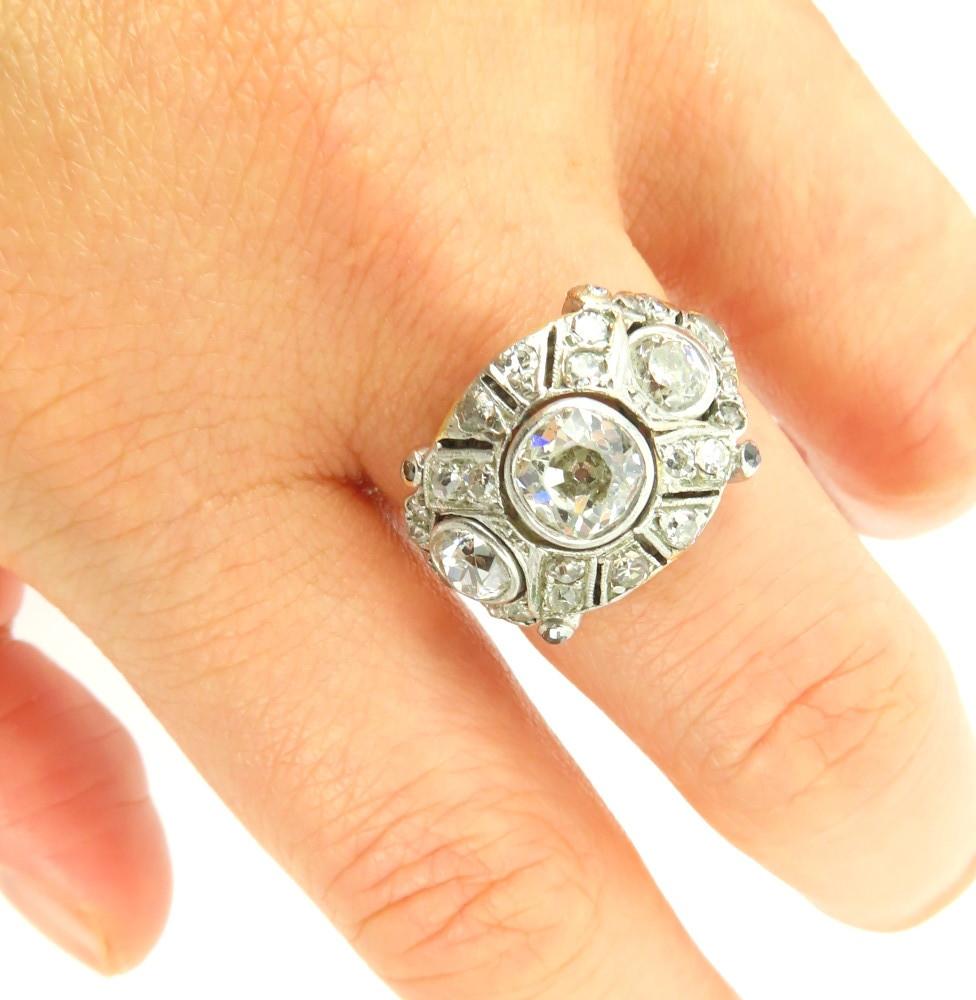 ◆アンティーク◆2.80ct オールドマインカット ダイヤモンド◆【プラチナ イエローゴールド】《リング 指輪》_画像8