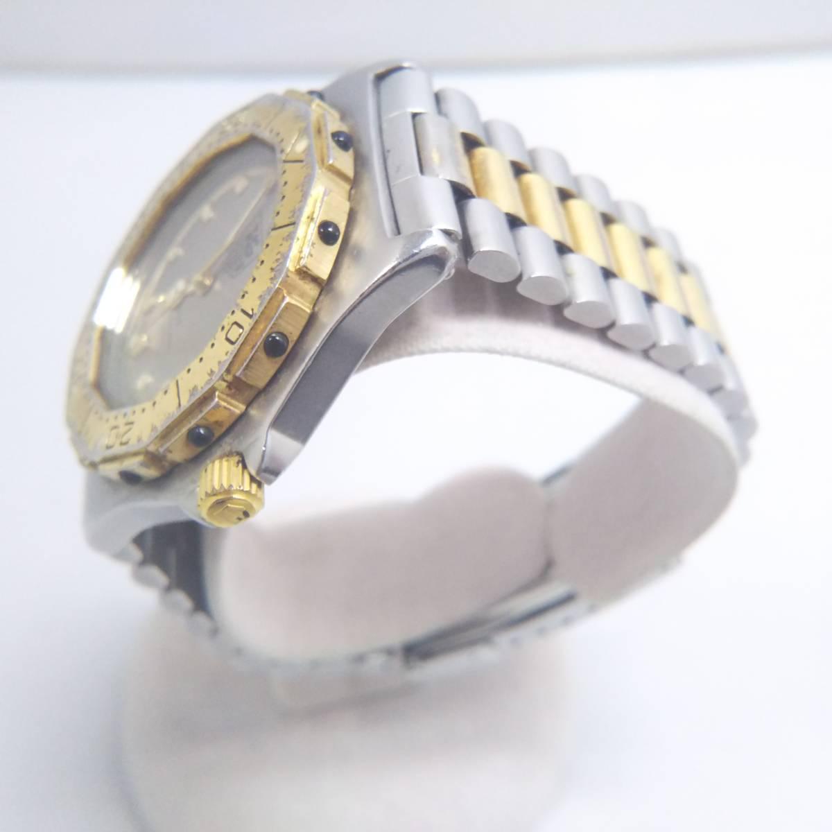 TAG HEUER タグホイヤー プロフェッショナル 934 206 デイト ゴールド 腕時計 クォーツ 電池式 ステンレスベルト メンズ_画像3