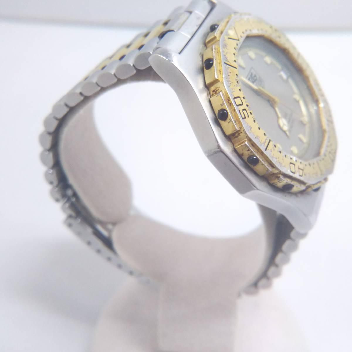 TAG HEUER タグホイヤー プロフェッショナル 934 206 デイト ゴールド 腕時計 クォーツ 電池式 ステンレスベルト メンズ_画像4
