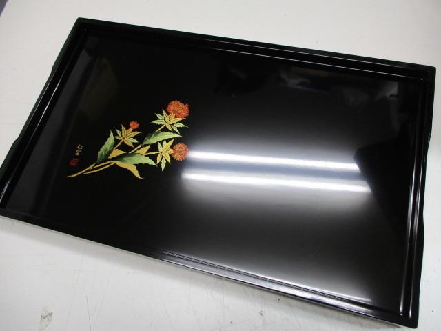 未使用☆会津塗 木製漆器 盆☆松雲作蒔絵_画像3