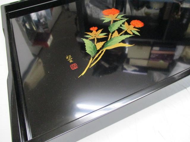 未使用☆会津塗 木製漆器 盆☆松雲作蒔絵_画像5