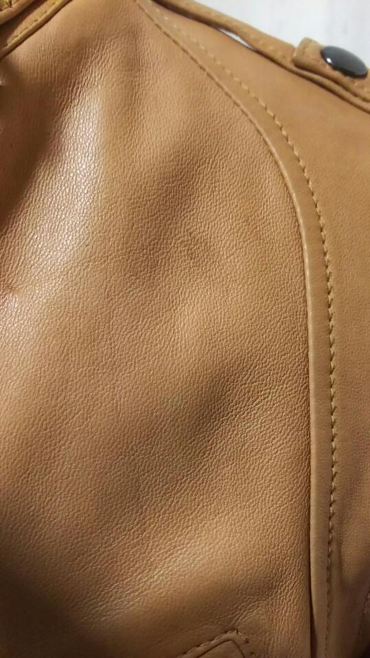 お洒落!! 細身 ◆ BEAMS ビームス ◆ 上質 高級 本革 羊革 レザージャケット ライダース ベージュ サイズ/S タイト ダブルジップ レーヨン _画像4