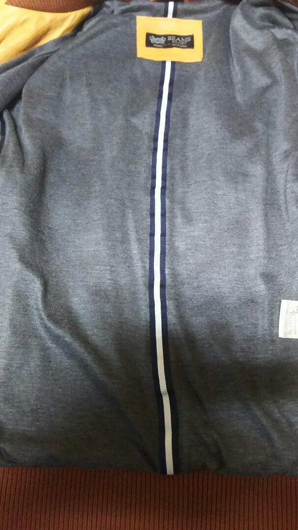 お洒落!! 細身 ◆ BEAMS ビームス ◆ 上質 高級 本革 羊革 レザージャケット ライダース ベージュ サイズ/S タイト ダブルジップ レーヨン _画像7