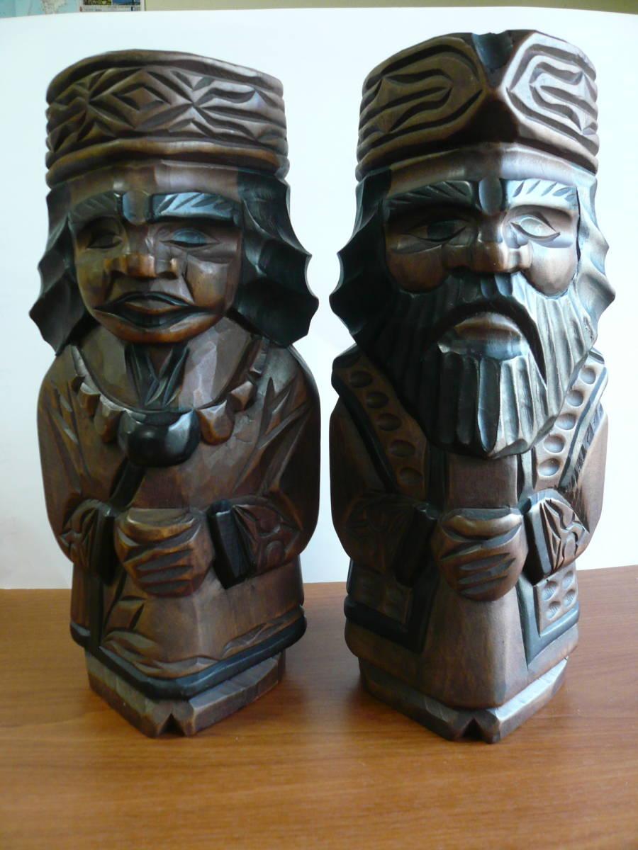 アイヌ人形 木彫り 夫婦 民芸品 お土産 置物 飾り物 レトロ _画像1