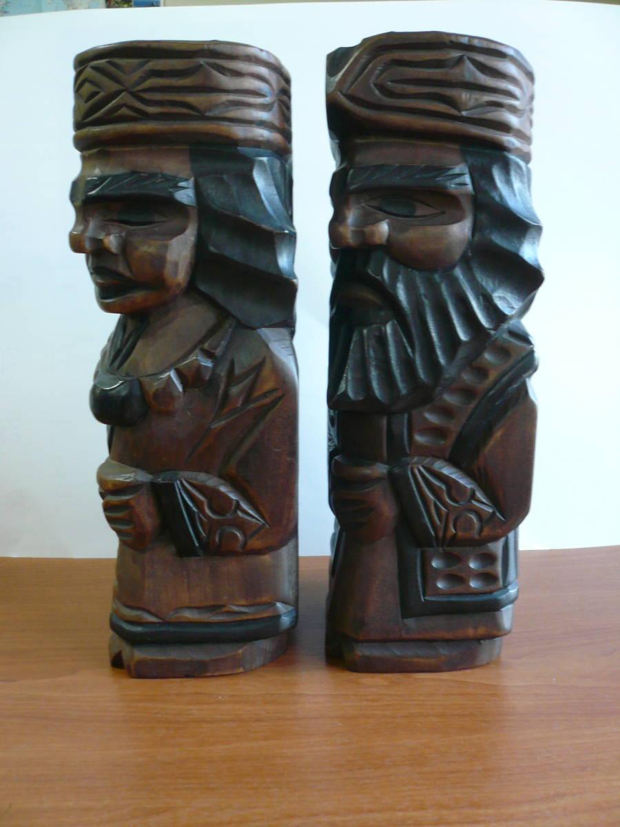 アイヌ人形 木彫り 夫婦 民芸品 お土産 置物 飾り物 レトロ _画像2