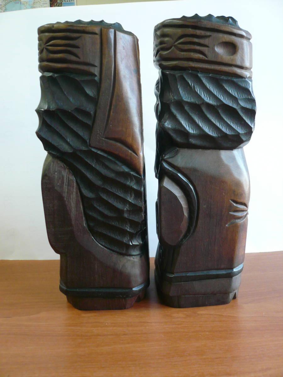 アイヌ人形 木彫り 夫婦 民芸品 お土産 置物 飾り物 レトロ _画像3