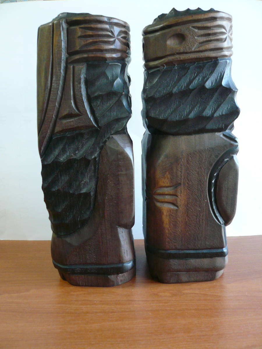 アイヌ人形 木彫り 夫婦 民芸品 お土産 置物 飾り物 レトロ _画像4